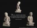 Attente, ronde-bosse, taille directe, pierre de Lucenay, H: 45 cm, B: 35 x 35 cm, 40 kg