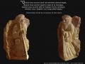 Compostelle 3: Le compagnon, bas-relief, taille directe, pierre dorée de Charlieu, H: 50 cm, B: 30 x 30 cm, 35 kg