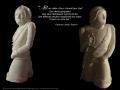 L'Homme armé, ronde-bosse, taille directe, pierre de Lucenay H: 78 cm, B: 25 x 35, 130 kg