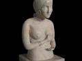 Sculpture, nom : Attente, ronde-bosse, taille directe, pierre de Lucenay, H: 45 cm, B: 35 x 35 cm, 40 kg