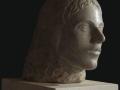 Tête romaine, ronde-bosse, taille directe, Pierre du Pouillenay, H: 40 cm, B: 30 x 30 cm, 40 kg
